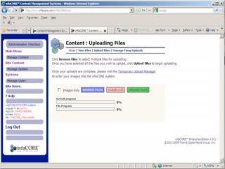 infaCORE™ bulk file uploads on Microsoft Windows XP/IE8