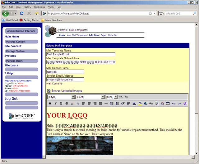 InfaCORE Bulk Email Content Management Systems CMS Customer - Email template management system